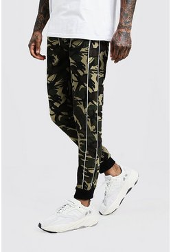 Mens Khaki Skinny Camo Pants With Side Piping