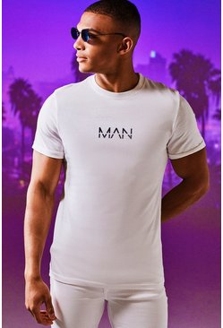 Original MAN Rolled Sleeve T-Shirt, White, МУЖСКОЕ