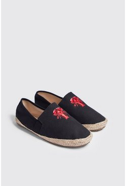 Mens Black Lobster Embroidered Slip On Espadrille