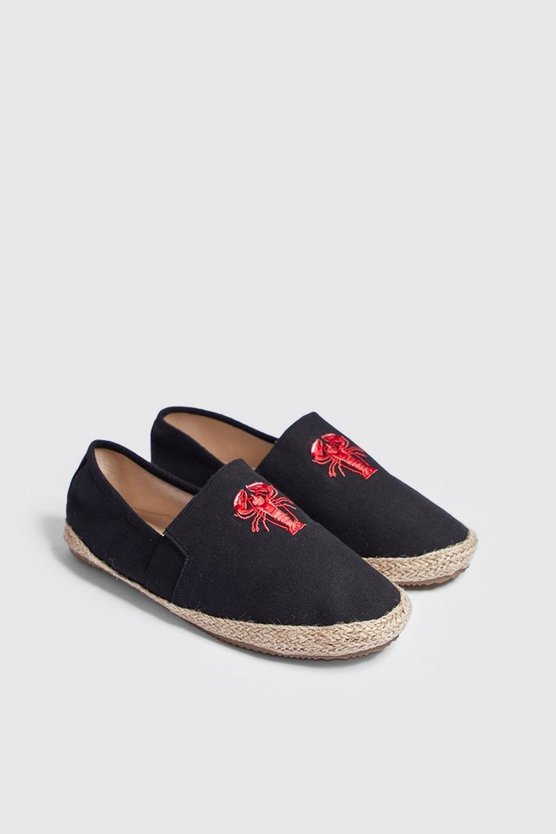 Lobster Embroidered Slip On Espadrille, Black, Uomo