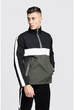 Mens Khaki Reflective Panel Colour Block Cagoule