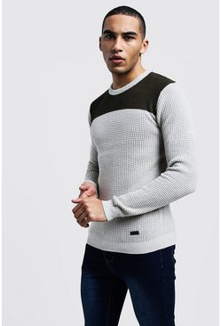 Mens Khaki Colour Block Fisherman Knit Jumper