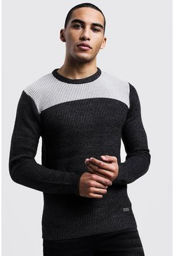 Colour Block Fisherman Knit Jumper, Charcoal, МУЖСКОЕ