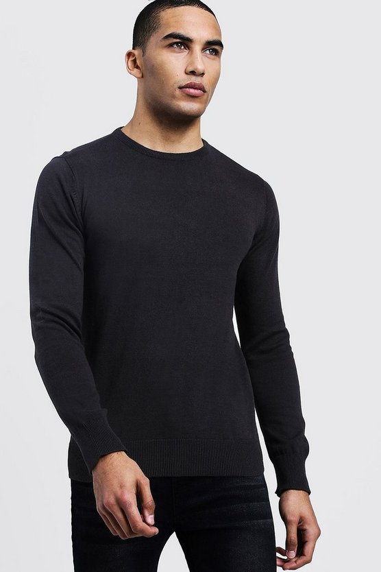 Mens Charcoal Long Sleeve Crew Neck Jumper