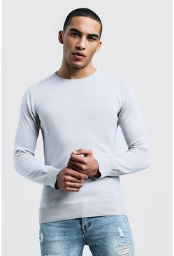 Long Sleeve Crew Neck Jumper, Ecru, Uomo