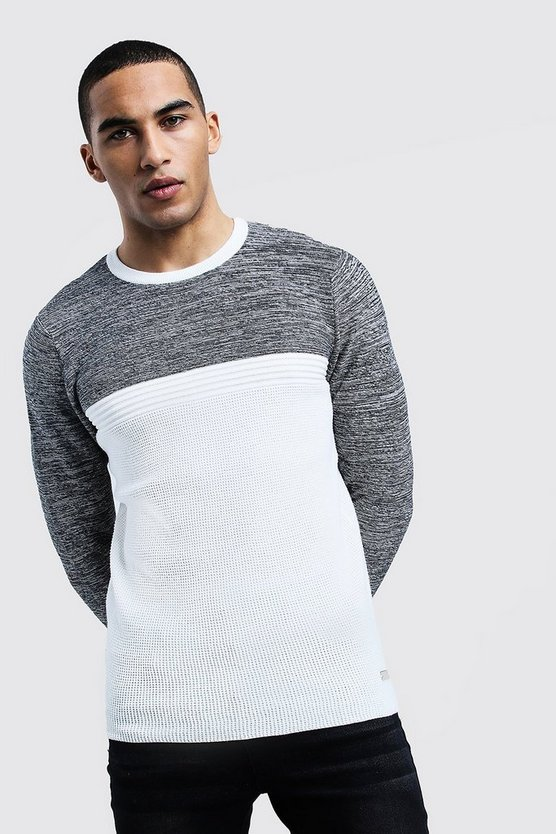 Mens Ecru Contrast Knitted Jumper