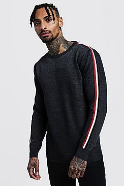 Crew Neck Arm Stripe Sweater