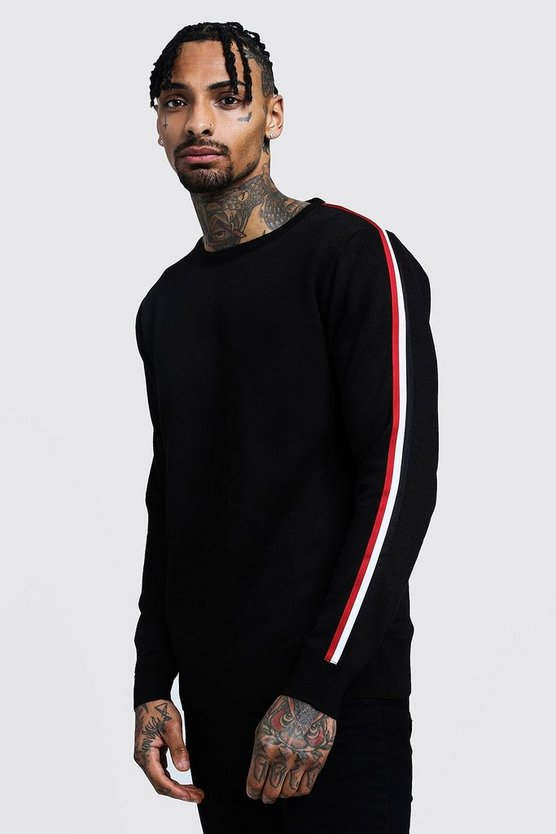 Crew Neck Arm Stripe Jumper