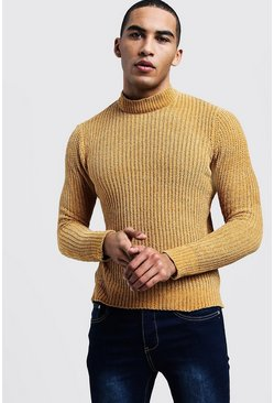 Mens Mustard Chenille Turtle Neck Jumper