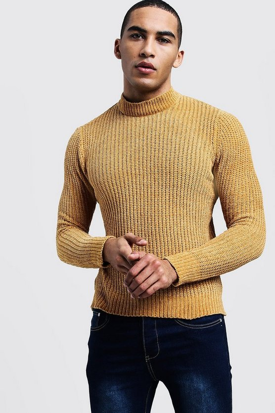 Mens Mustard Chenille Turtle Neck Sweater