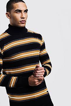 Horizontal Stripe Roll Neck Sweater
