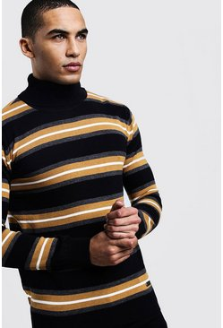 Mens Black Horizontal Stripe Roll Neck Jumper