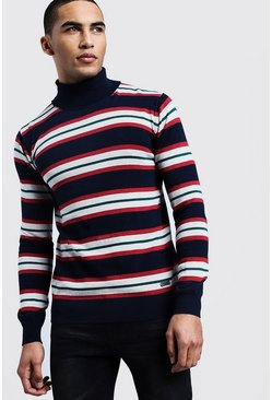Horizontal Stripe Roll Neck Jumper, Navy, Uomo