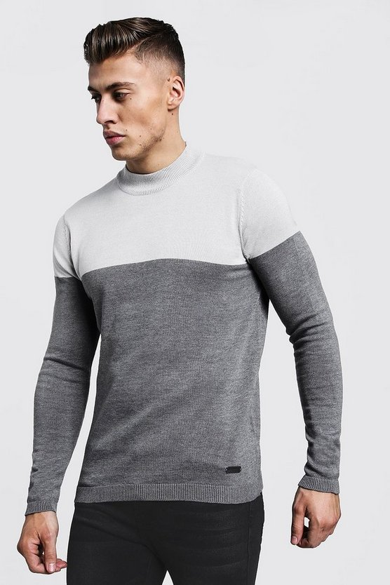 Mens Light grey Colour Block Turtle Neck Jumper