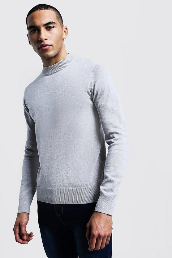 Mens Ecru Turtle Neck Jumper