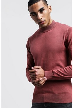 Mens Dusky pink Turtle Neck Jumper