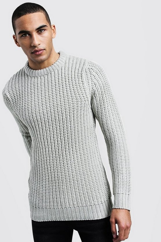 Chunky Fisherman Knit Jumper, Stone, Uomo