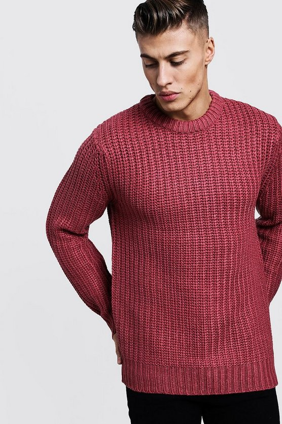 Mens Rose pink Chunky Fisherman Knit Jumper
