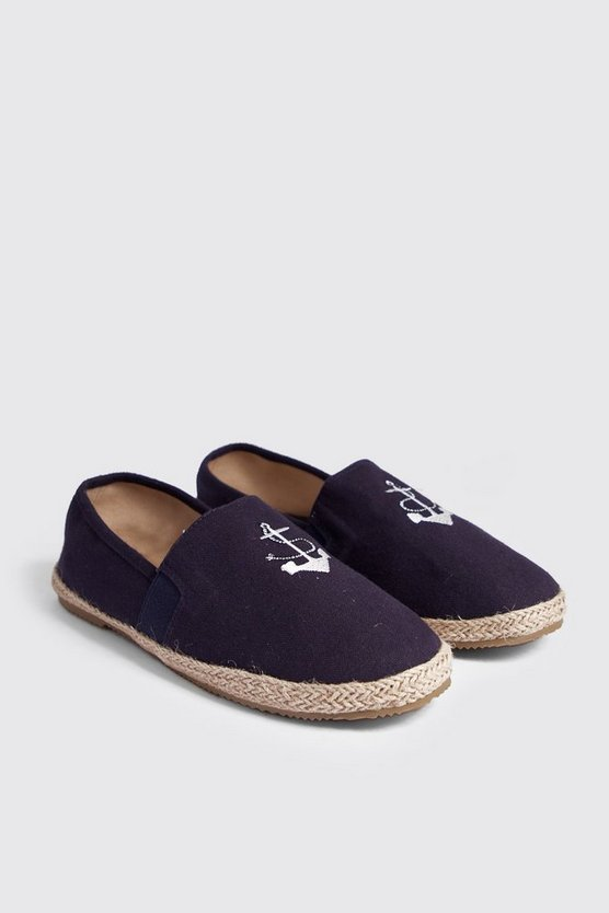 Mens Navy Anchor Embroidery Slip On Espadrille