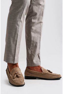 Woven Suede Look Tassel Loafer, Sand, HOMMES
