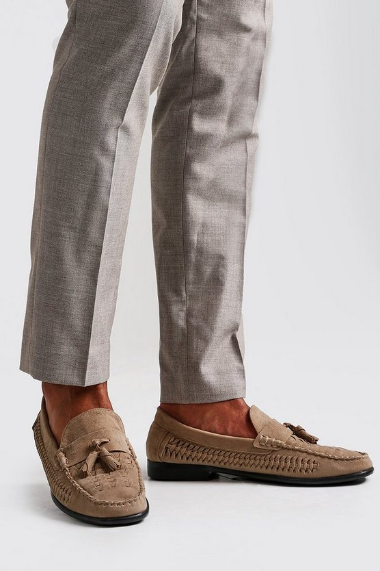 Mens Sand Woven Suede Look Tassel Loafer