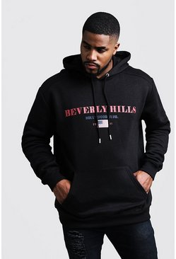 Big And Tall Beverly Hills Print Hoodie, Black, HOMBRE