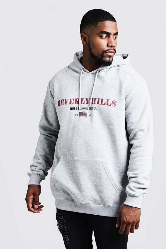 Mens Grey marl Big And Tall Beverly Hills Print Hoodie