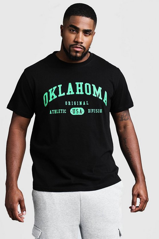 Mens Black Big And Tall Oklahoma Print T-Shirt