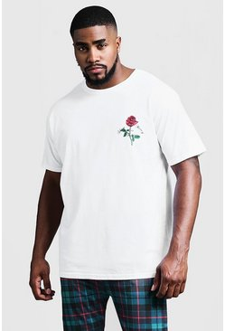 Mens White Big And Tall Rose Print T-Shirt