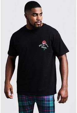 Mens Black Big And Tall Rose Print T-Shirt