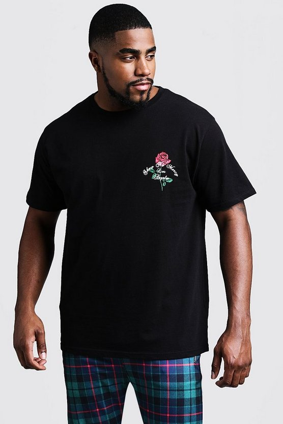 Big And Tall Rose Print T-Shirt, Black, HERREN