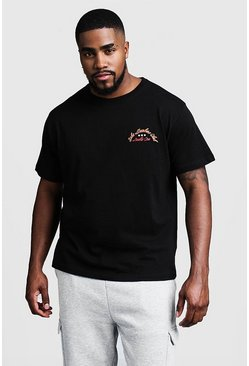 Mens Black Big And Tall China Town Back Print T-Shirt