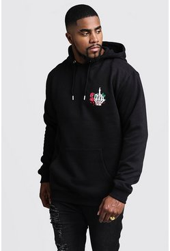 Herr Black Big And Tall MAN Script Skeleton Print Hoodie