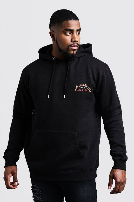 Mens Black Big And Tall China Town Back Print Hoodie