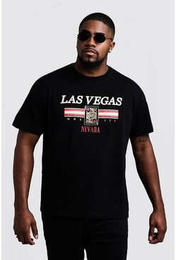 Big And Tall Las Vegas Print T-Shirt, Black, HOMBRE