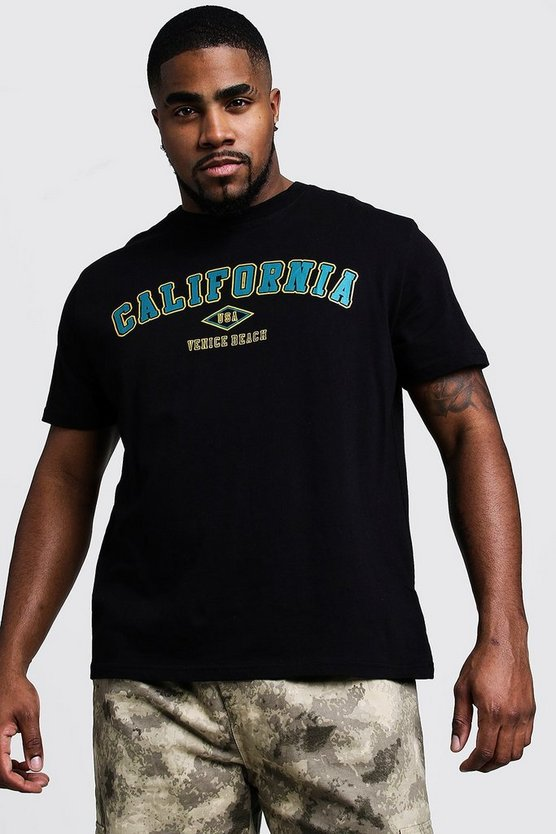 Mens Black Big And Tall California Print T-Shirt