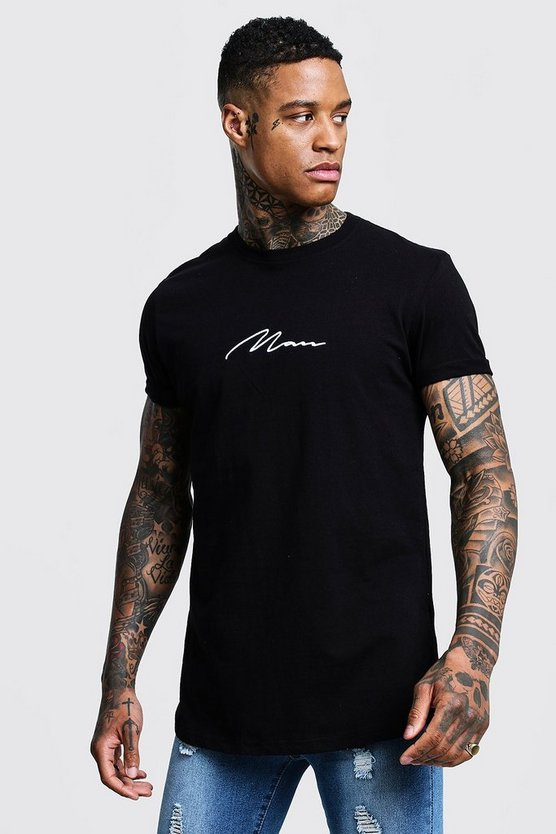 Black MAN Signature Embroidered Rolled Sleeve T-Shirt