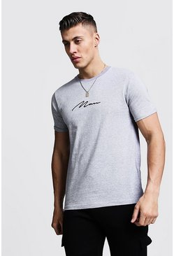 Mens Grey MAN Signature Embroidered Rolled Sleeve T-Shirt