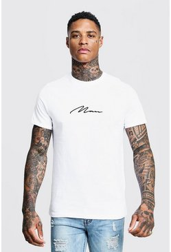 MAN Signature Embroidered Rolled Sleeve T-Shirt, White, HOMBRE