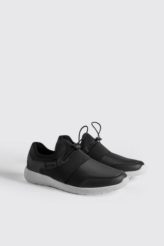 Mens Black Neoprene Sporty Sneaker With Toggle Detail