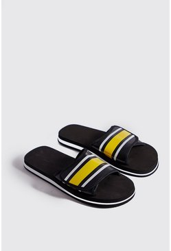 Mens Yellow Velcro Strap Colour Block Slider