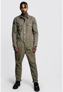 Cotton Twill Utility Boiler Suit, Khaki, Uomo