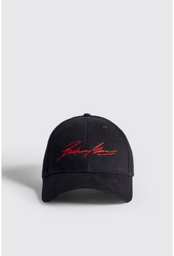 Mens Black Red Embroidery Boohoo MAN Cap