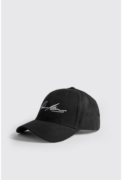 Mens Black White Embroidery Boohoo MAN Cap