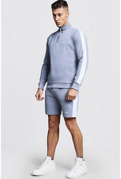 Mens Ash Tricot MAN Funnel Neck Short Tracksuit
