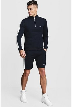 Mens Navy Tricot MAN Funnel Neck Short Tracksuit