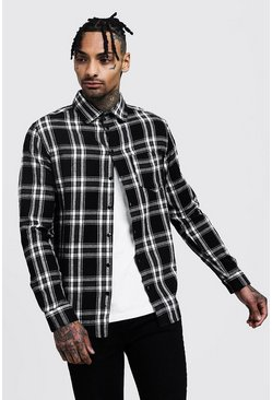 Long Sleeve Check Shirt, Black, Uomo