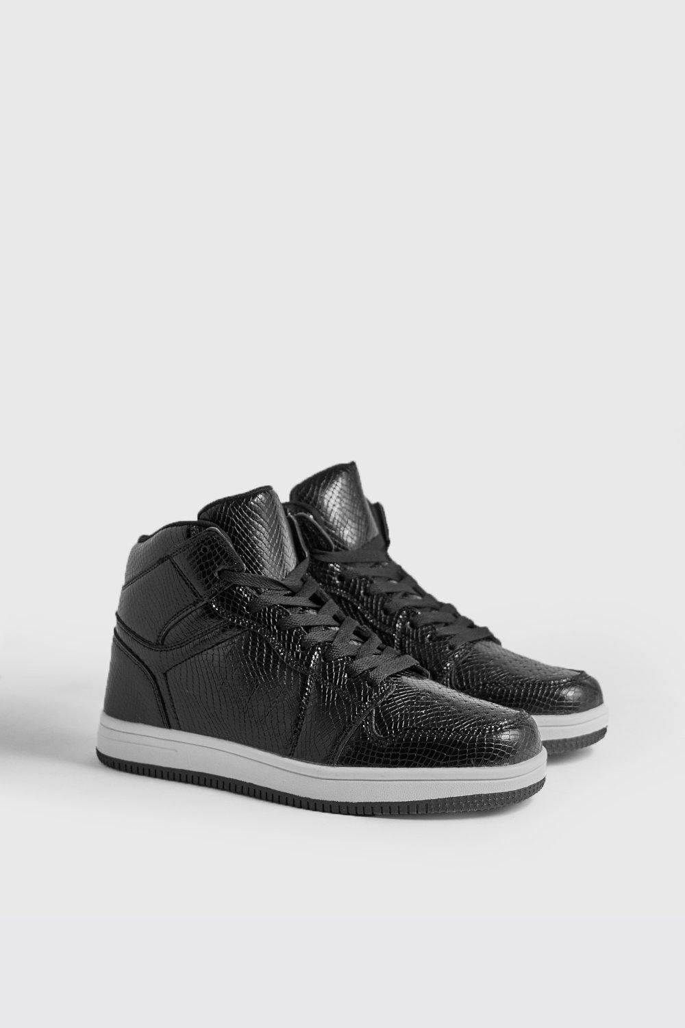 Faux Snake Detail Hi Top Trainers