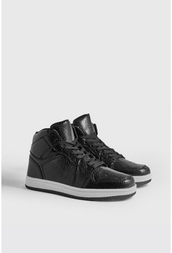 Mens Black Faux Snake Detail Hi Top Trainers