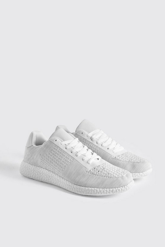 Knitted Trainer With Sport Sole, White, Uomo